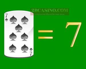 ไพ่ 7 หรือ SEVEN มีค่า 7 แต้ม