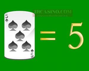 ไพ่ 5 หรือ FIVE มีค่า 5 แต้ม